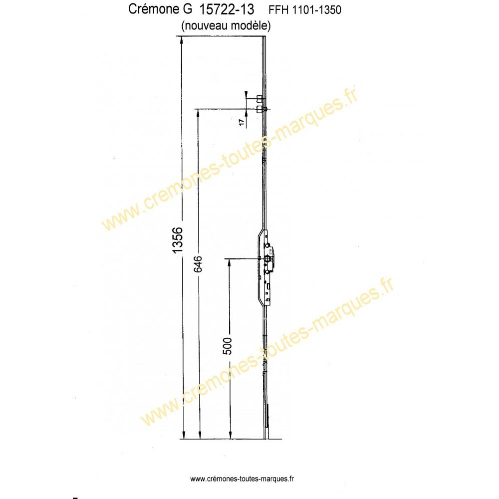 Cremone gu ref g15722 cr mones toutes marques for Cremone fenetre pvc